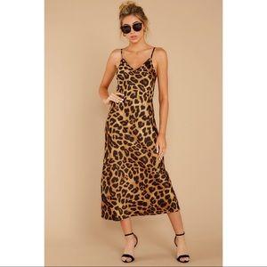 Vici Boutique Leopard Print Slip Satin Like Dress